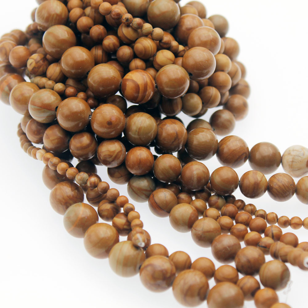Wholesale Natural Stone Beads Smooth Brown Wood Grain Loose Beads for Needlework Jewelry Making <font><b>4</b></font> <font><b>6</b></font> 8 10 <font><b>12</b></font> mm DIY Bracelet image