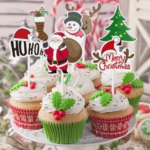 Image 2 - 72pcs Merry Christmas Cake Topper Cupcake Toppers Muffin Santa Claus Christmas Tree Snowman Cute Fruit Cake Picks Xmas Supplies