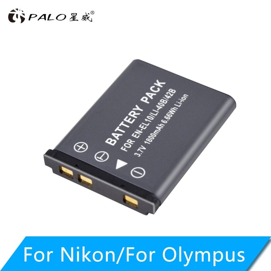 PALO 3.7V 1800mAh Li-40B Li40B Li 40B Li-42B EN-EL10 EN EL10 ENEL10 Batteries pour appareil photo numérique pour Olympus Nikon Fujifilm Kodak