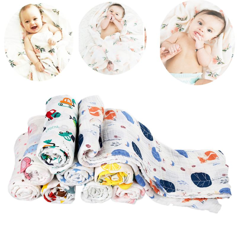 120*120cm Muslin Cotton Baby Swaddles Soft Newborn Blankets Bath Gauze Infant Wrap Sleepsack Stroller Cover Play Mat