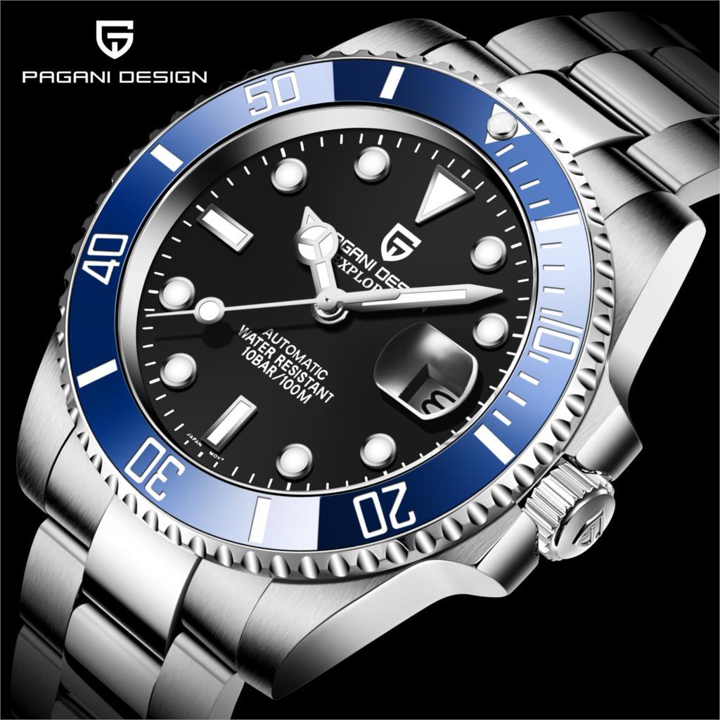 nh35a relógios de pulso mergulhadores aço inoxidável