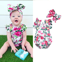 PIZZSEOON Baby Clothing Spring Summer Baby Girls Floral Romper Jumpsuit with Headband Outfit Baby Girl Summer Clothes for 1-3 Y baby jacket spring summer girls sun protective clothing children outwear cardigan girl leisure thin clothes floral sweatshirt