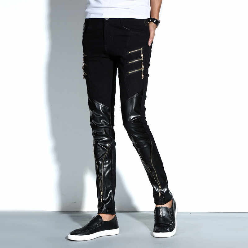 Punk Men Slim Fit Trousers Motorcycle Skinny Faux Leather Pencil Pants Fashion Black Full Length PU Leather Pants Erkek Pantolon
