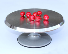 Baking tool 12 inch alloy mounted cream cake Decorating silver metal Turntable Rotating table stand base turn around