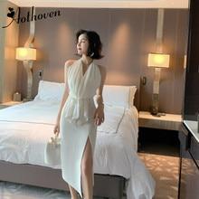 Летнее кружевное платье с оборками, сексуальное вечернее платье белого цвета, без рукавов, с открытой спиной, женское офисное платье, Бандажное элегантное женское платье, Vestido