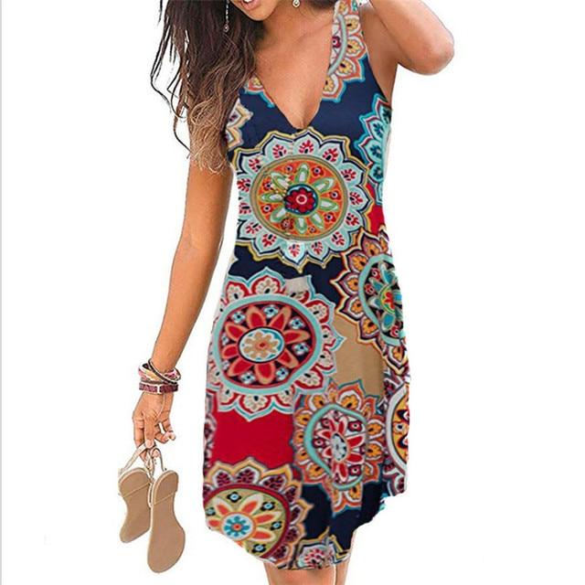 4XL 5XL Plus Size Dresses Women 2021 Sexy Summer Beach Short Dress Casual Sleeveless Deep V-Neck Ladies Folk Floral Print Dress