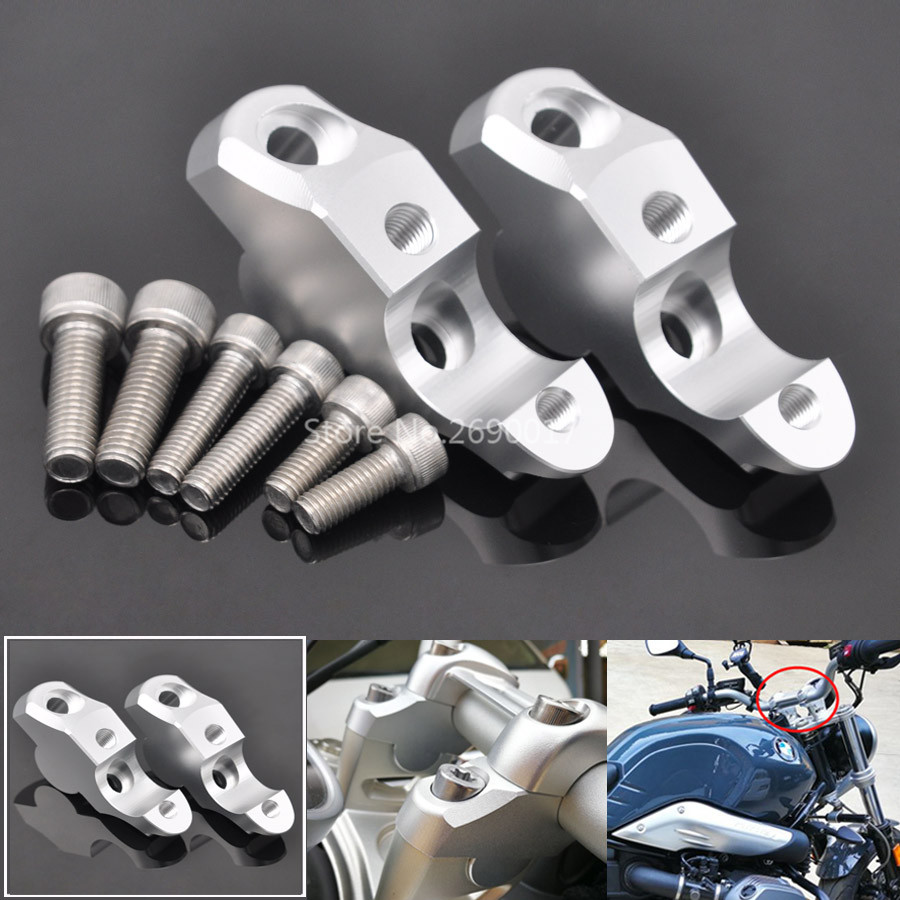 Motorcycle Aluminum Silver <font><b>Handlebar</b></font> <font><b>Risers</b></font> Up <font><b>28mm</b></font> Clamps Back Move 25mm Mount For BMW RnineT R NineT R Nine T R9T 14-19 image