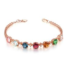 18k Gold Candy Colored Tourmaline Gemstone Bracelet For Women 925 Sterling Silver Bracelets Zircon Diamond Adjustable Hand Chain(China)