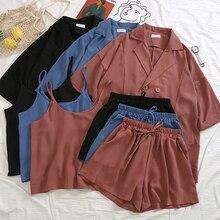 office ladies set Summer korean 3 Pieces Suits Blazers+Camisole+Shorts set Elastic Wasit biker shorts set women tracksuits