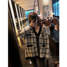 Checked Sweater Coat College for Women with Loose and Lazy Style V-necklace Knitted Open-tops Autumn Women's Fashion(China)