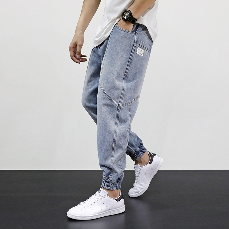 Japanese Style Fashion Men Jeans Loose Fit Retro Light Blue Spliced Designer Harem Pants Streetwear Hip Hop Jeans Men Joggers