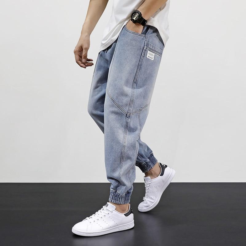 Japanese Style Fashion Men Jeans Loose Fit Retro Light Blue Spliced Designer Harem Pants Streetwear Hip Hop Jeans Men Joggers
