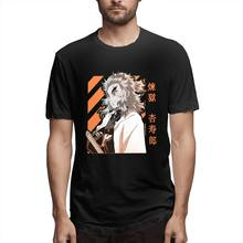 Kyojuro Rengoku Demon Slayer Kimetsu nie Yaiba projekt Anime T Shirt Humor O szyi koszulka czysta bawełna nowa odzież