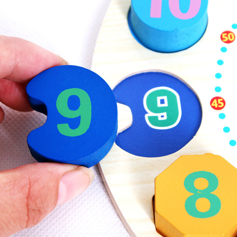 Make-up With Numbers Children Threading Wooden Cognitive Multi-functional With Numbers Clock Shape Beaded Bracelet Educational T
