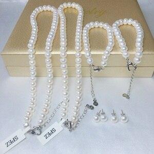 Image 4 - Perle Schmuck Sets Echte Natürliche Süßwasser Perle Set 925 Sterling Silber Perle Halskette Ohrringe Armband Für Frauen Geschenk SPEZ