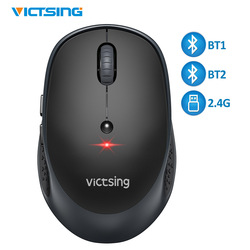 Victsing Wireless Mouse untuk Office 2400 Dpi Disesuaikan Bluetooth 5.0 Mouse 2.4G USB Wireless Optik Mouse untuk PC Laptop tablet