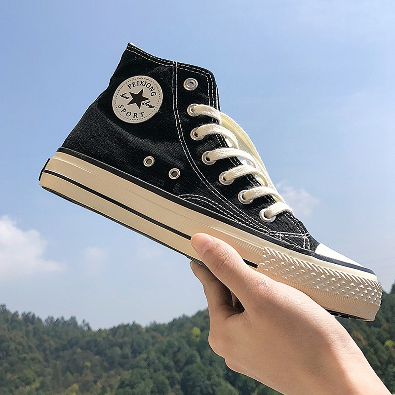 Men Canvas Shoes Fashion Casual Breathable Shoes For Men High-top Lace-up Sneakers Dropshipping