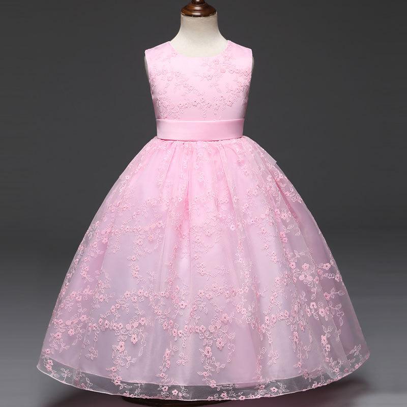2019 Hot Selling Children Shirt Girls Floral Embroidered Dress Children's Wedding Veil Dress Princess Dress