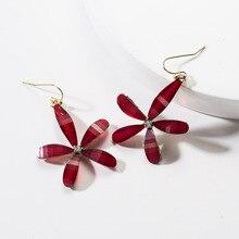 New Big Flower Earring for Women Acetate Acrylic Ear Hook Elegant Sweet Floral Statement Drop Boho Jewelry Long Brinco