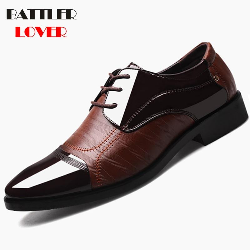 Men Dress Shoes Men Business Leather Shoes Pointed Toe Wedding Shoes Lace Up Mens Formal Shoes Oxfords Shoes For Men