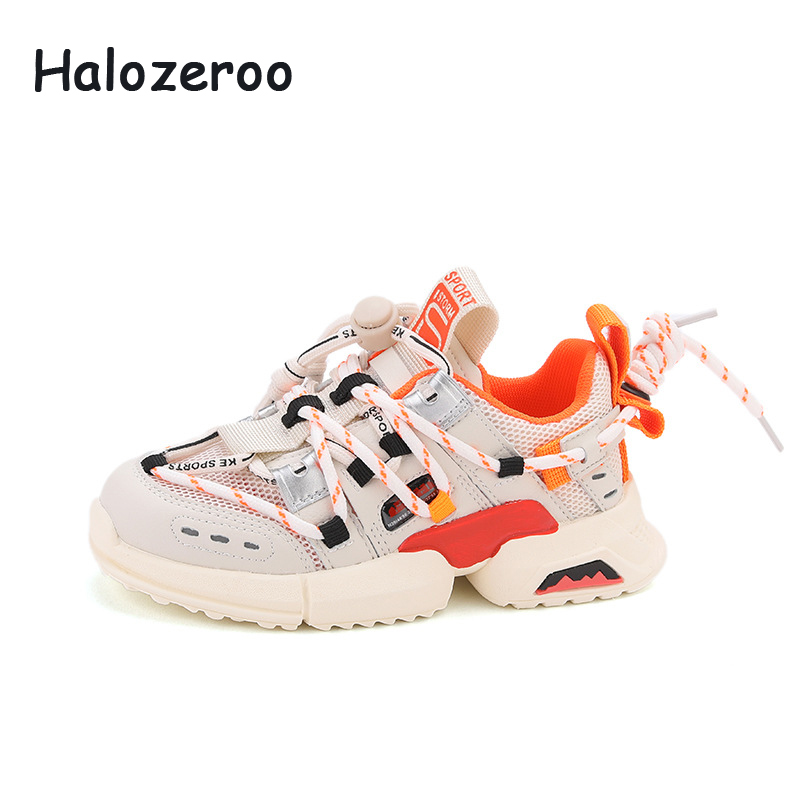 Spring Kids Sport Sneakers Boys Slip On Running Shoes Baby Girls Beige Casual Sneakers Children Brand Chunky Sneakers Trainers