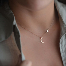 Romantic Moon Stars Pendant Women Clavicle Necklace Charming Temperament  Jewelry For Women Girlfriend Valentine's Day Gift charming coin triangle pendant necklace for women