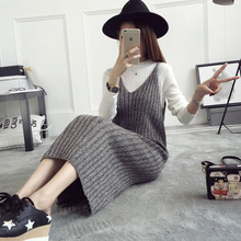 Mooirue Autumn Winter Kintting Long Dress Women Sleeveless V Neck Solid Straight Vestidos Vintage Casual Streetwear Maxi