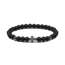 Charm Men Cross Bracelets Women Meditation Prayer Natural Lava Beads Bracelet Yoga Fitness Couple Jewelry Gifts Homme hombre