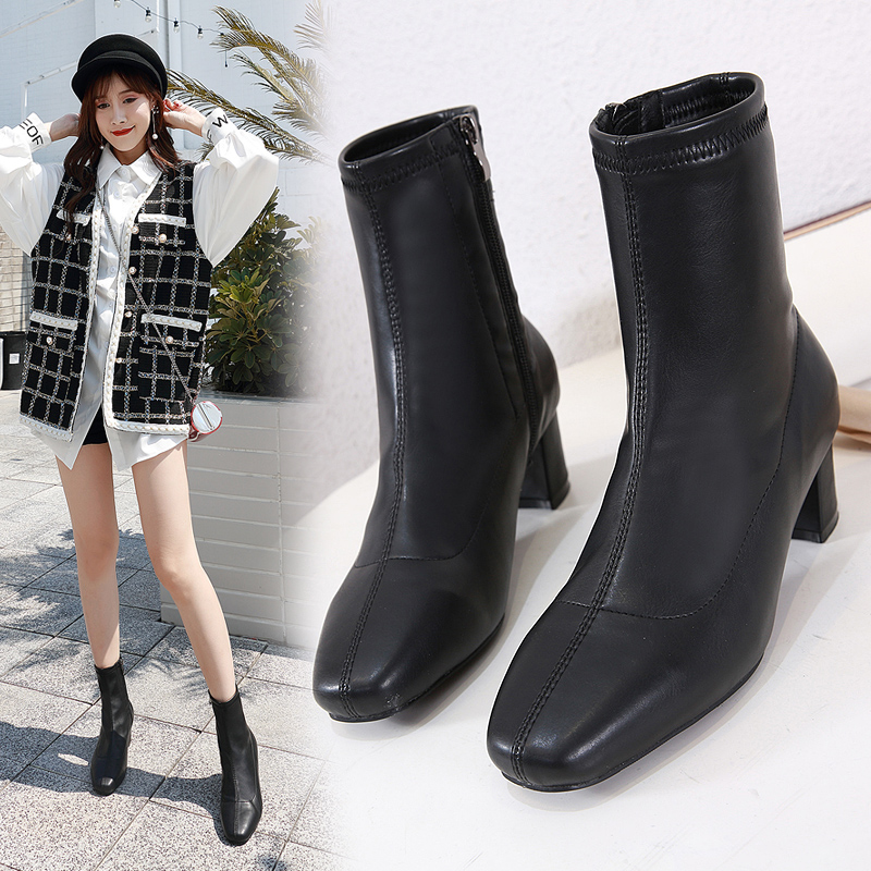 Купить с кэшбэком Women's Ankle Boots NIUFUNI Square Toe Solid Color Zipper Low Heel Martin Boots Fashion Women Shoes Size 35-40 Bottes Femme