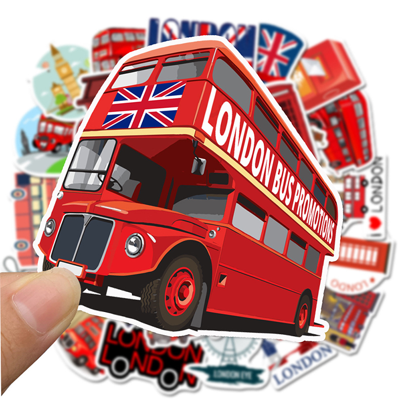 50PCS Red Bus Phone Booth London Sticker Stickers PVC Graffiti Decal For Case Suitcase Luggage Guitar Laptop Children Toys F4