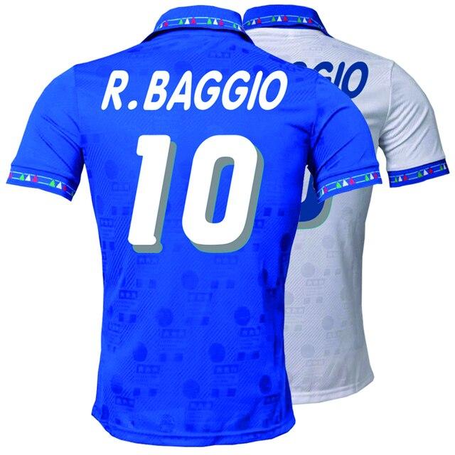 イタリア 1994 レトロロベルトバッジョcamisetaホームアウェイジャージ高品質tシャツtシャツカスタマイズ憂鬱王子