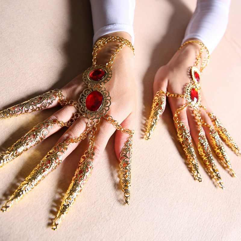 2019 Belly Dance สร้อยข้อมือผู้หญิงยาวเล็บอินเดีย Bollywood เครื่องประดับอุปกรณ์เสริมพันมือพระโพธิสัตว์สร้อยข้อมือ