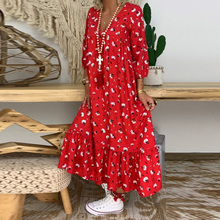 Boho Women Floral Print Maxi Dress Fashion Puff Sleeve Long Dress Ladies Flounce Dresses Autumn Casual ropa mujer vestidos D35