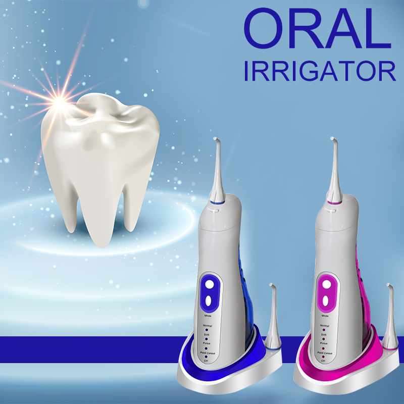 Cordless Dental Oral Irrigator Portable and Rechargeable Waterproof 3 Modes Water Flossing with 2 Nozzles Cleanable