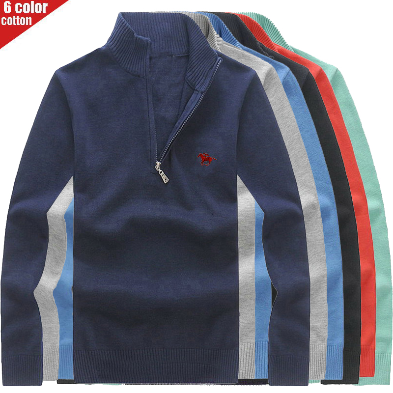 Embroidered Polo Logo Men's Pullover High Quality Brand Sweater For Men Fashion European Style Autumn/Winter Sweaters 8504