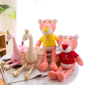 цена 1PC 40cm Kawaii Cartoon Pink Panther Flamingo Plush Toy Stuffed Animal Dolls Kids Girls Birthday Christmas Gift Christmas Gift онлайн в 2017 году