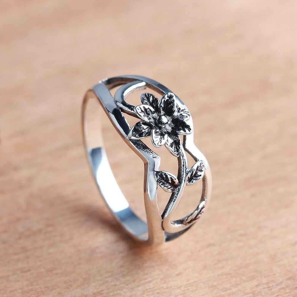 Size 5-12 Vintage Women's Black Rhinestone Rose Flower Rings High Quality Party Shopping Annual Brand Jewelry(China)