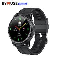 Bymuse gw20 chamada bluetooth relógio inteligente rastreador de fitness monitoramento de freqüência cardíaca controle música 1.3 Polegada smartwatch