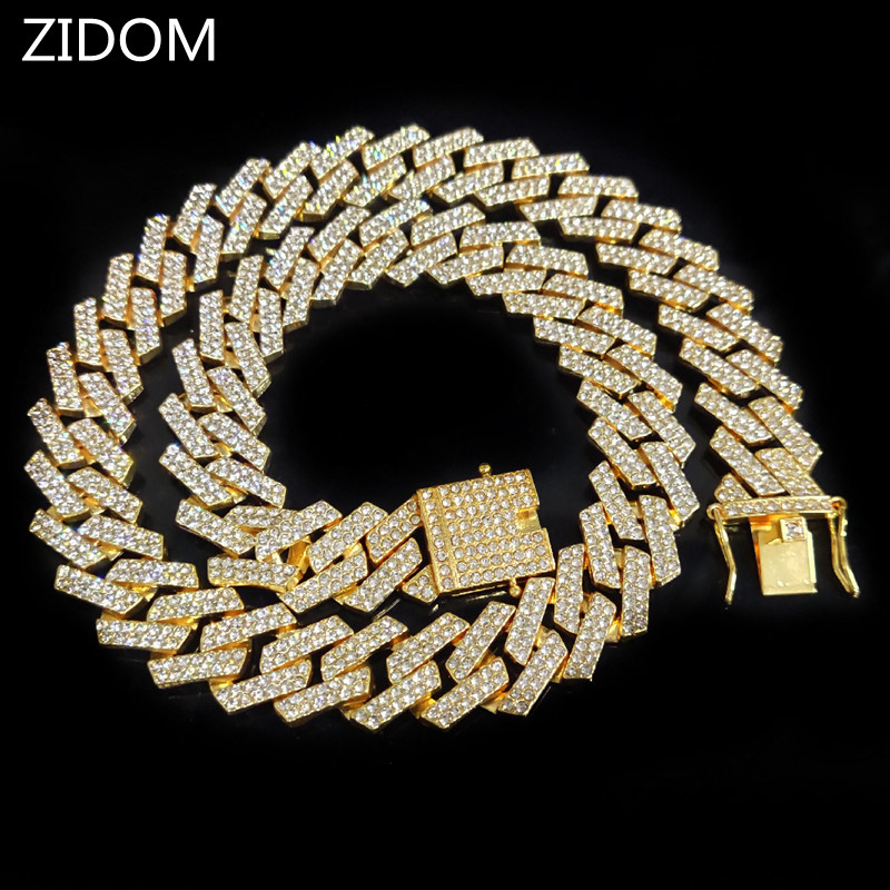 20mm Hip Hop Iced Out Bling Chain Necklace Men fashion HipHop rhombus Cuban Chains Necklaces Charm jewelry|Chain Necklaces| - AliExpress
