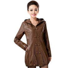 Jacket Outwear Trench-Coat Female Plus-Size Winter Autumn 5XL Pu Hooded Loose