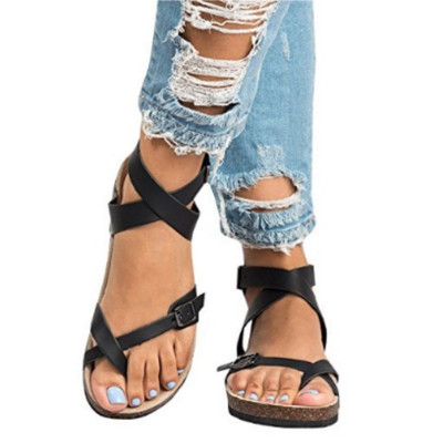 2020 New Women Summer Sandals Fashion Gladiator Women Shooes Casual Solid Flats Buckle Strap Ladies Plus Size Sandals