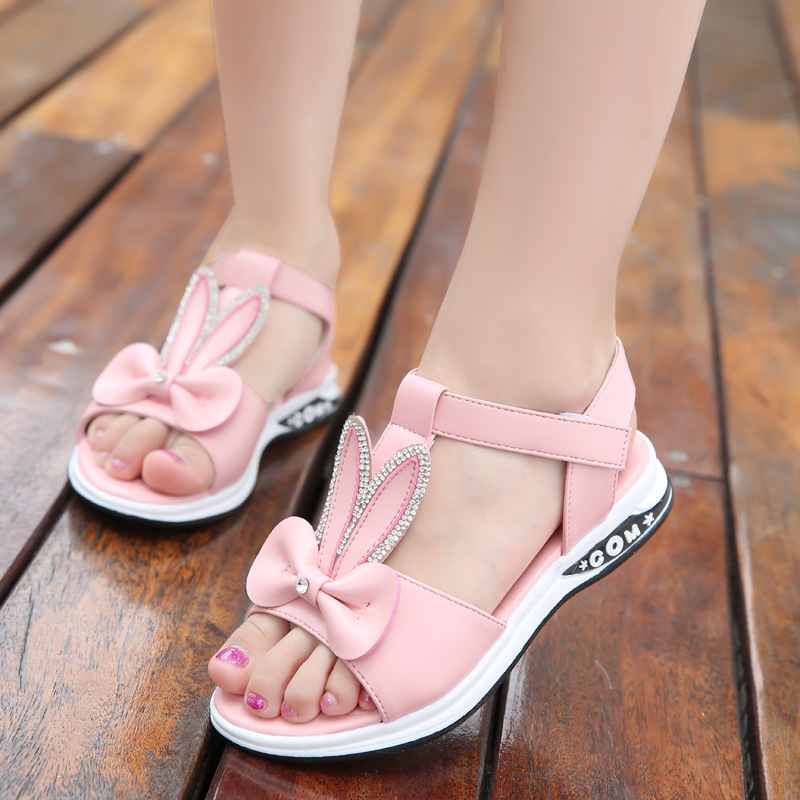 2020 New Children Girls Summer Sandals Fashion Pink Bunny Ears Crystal Kid Baby Princess Shoes Soft Bottom Non-slip Beach Sandal