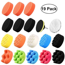 19Pcs 3 Inch Buffing Waxing Polishing Sponge Pad Kit For Car Cleaning Tools Accessories Compound-Polishing-Auto Drill Adapter
