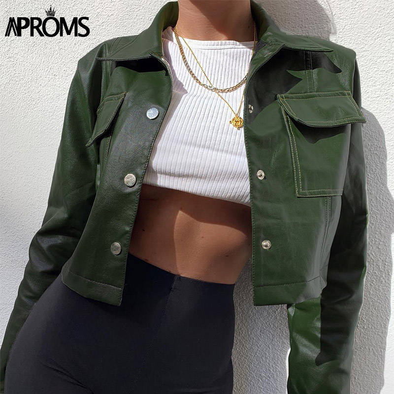 Aproms PU Leather Basic Cropped Jacket Women Casual Long Sleeve Button Pocket Short Outerwear Fashion 2019 Solid Streetwear Coat
