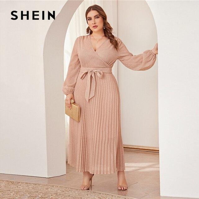 SHEIN Plus Size Surplice Neck Lantern Sleeve Pleated Glitter Maxi Dress Women Autumn High Waist Wrap Glamorous Party Dresses 1