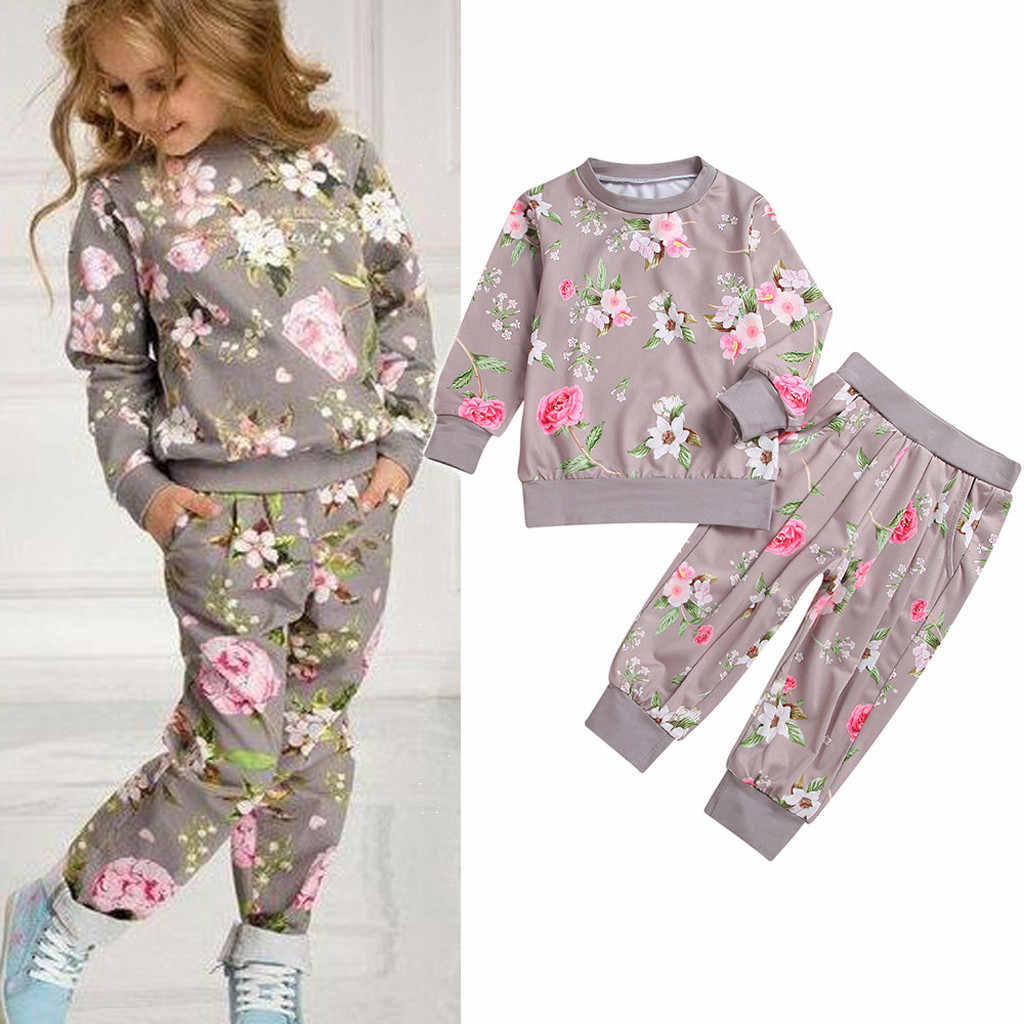Fashion Children Girls Clothing Set Spring Autumn Tracksuit Floral Sweatshirt+Pants Casual Sport Suit Kids Toddler Girls Clothes
