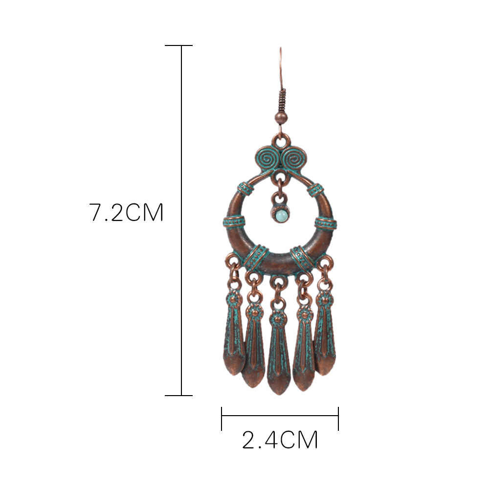 Bohemio indio vintage bronce verde ethnic tassel earrings para mujeres Gypsy afghanian Pakistán elegante hippie mujeres joyería regalo