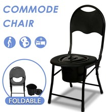 Toilet-Chair Potty Seat Stool Commode Folding Disabled Bathroom No for Elderl No-Slip-Feet