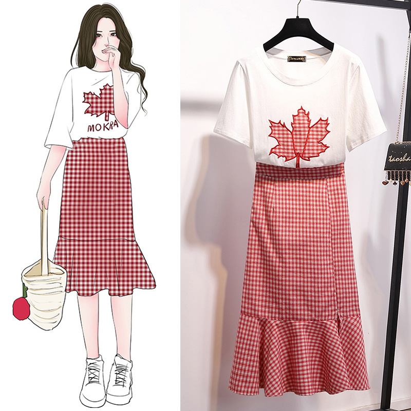 Hipster Embroidered Short Sleeve T-shirt Fashion WOMEN'S Suit High-waisted Plaid Sheath Fishtail Skirt Two-Piece Set