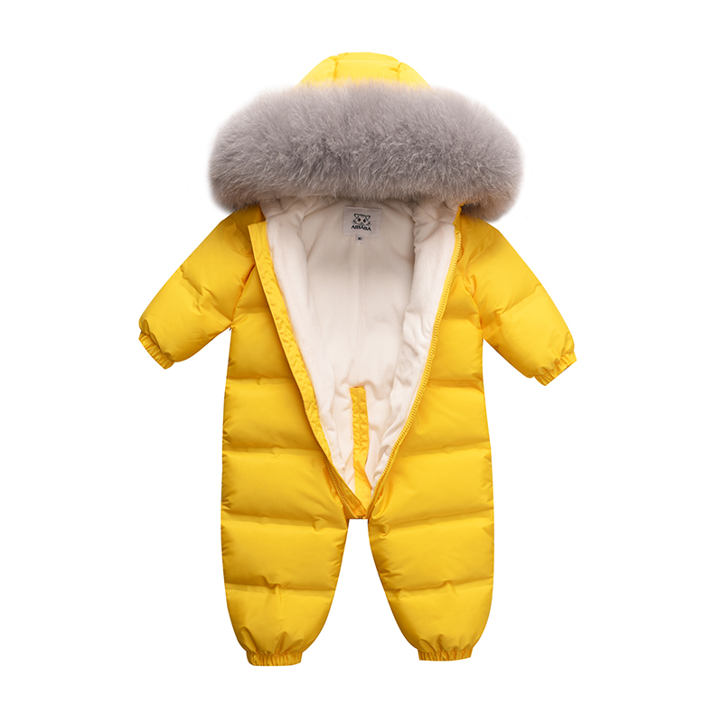 russia Baby kids down jumpsuit for boys and girls in winter thick warm outdoor clothing natural real fur collar -30 degrees